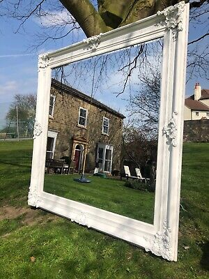 HUGE Extra Large French white  antiqued Wall leaner mirror 185cm square