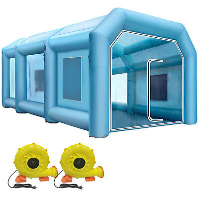 Spray Booth Inflatable Tent Car Paint Portable Cabin 210D Oxford Fabric 2-Blower