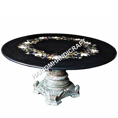 """36"""" Black Round Marble Dining Table Top Floral Marquetry Inlaid Work E615"""