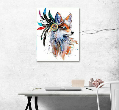 India Wolf Bohemian Style Abstract Poster Print Canvas Painting Art Home Wall