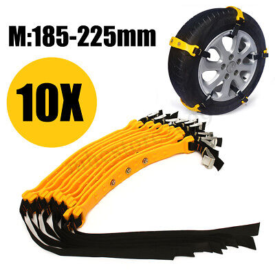 10Pc Car Van Truck Snow Tyre Chains Belt Beef Tendon Wheel Anti Skid TPU Chain