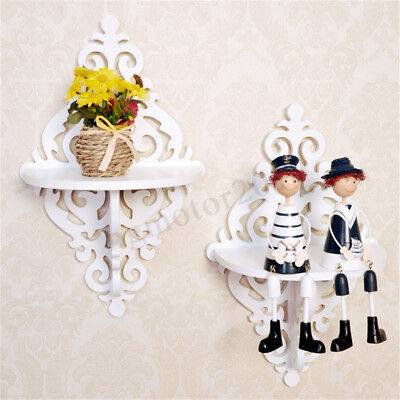 2X White Chic Filigree Style Wall Shelf Flower Display Candle Stand Holder