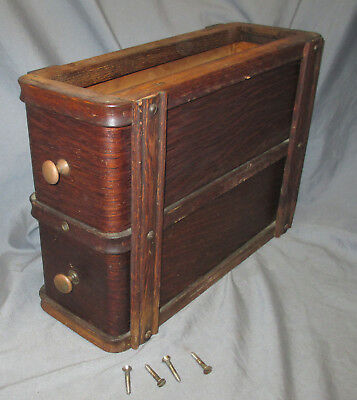 Right Antique 1910 Oak Singer Treadle Sewing Machine Double Drawers 66 Red Eye