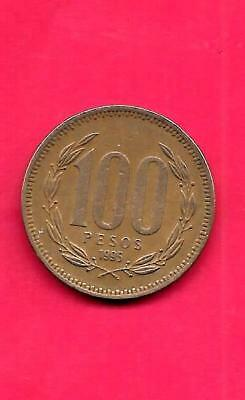 Chile Km226.2 1995 Vf-Very Fine-Nice Large Old Aluminum Bronze 100 Pesos Coin