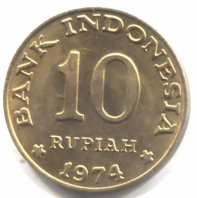 AU Indonesia 1974 Ten Rupiah Coin - Bank Indonesia