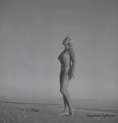 Bunny Yeager Nude Ocean Side Pin-up Camera Negative Lori Shea in Naples 1950s NR