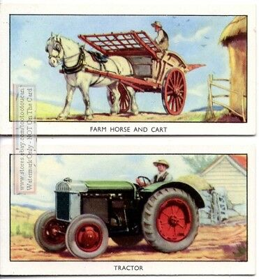 Comparing Horse Drawn Farm Cart and Modern Tractor 2 Vintage Ad Cards
