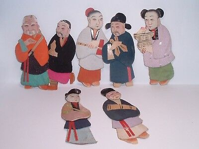 7 Small ANTIQUE late 1800s Silk & paper Japanese Dolls w/ Period Info on backs