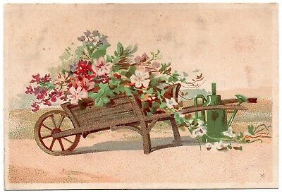 Wood Wheel Barrow with Flowers; The Great Atlantic & Pacific Tea Co. Trade Card