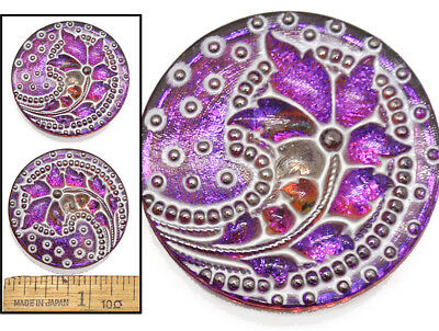 34mm Vintage Czech Glass 3D FLOWER SPRAY Purple Fire AB w/White Wash Buttons 2pc