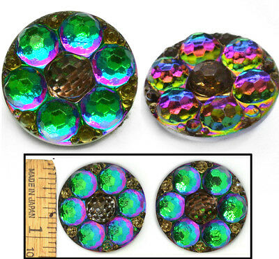 27mm Vintage Czech Glass PURPLE Green Flash FIRE AB Faceted FLOWER Buttons 2pc