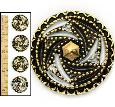 22mm Vintage Czech Black + White Dotted Gold Quilt 3D Pinwheel Glass Buttons 4pc