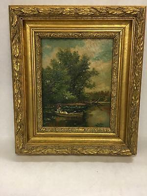 Antique Signed Oil Painting Asian Man in Canoe on Water with Trees & House