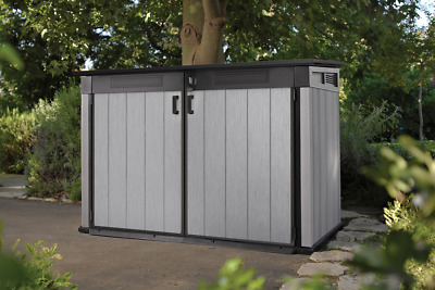 Keter Grande Brushed Shed Store Garden Storage Bike Wheelie Bin XL Size DUOTECH