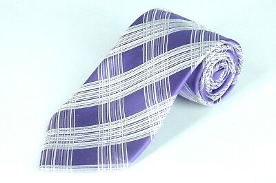 City Of London Men's Tie Purple & White Geometric Woven Silk Necktie 58 x 3.5 in