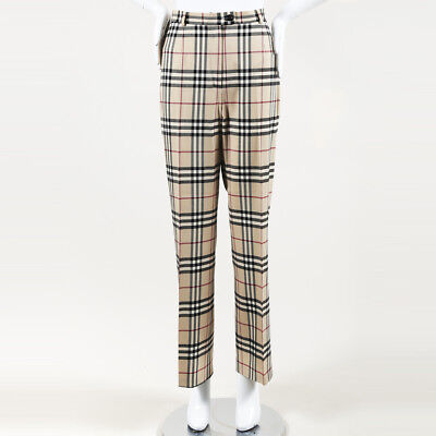 f71439536fcd BURBERRY CHECKED WOOL Wide Leg Pants SZ 10 -  255.00