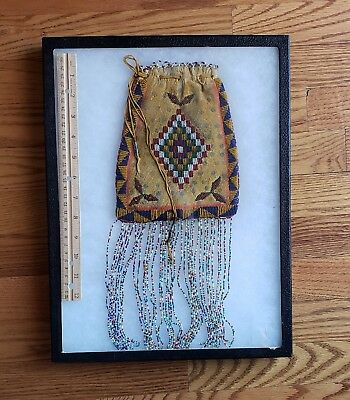Antique Apache Indian  Beaded Large Pouch, with Beaded Fringe