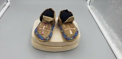 Native American Childrens, Beaded & Quill, Antique Moccasons, circ: 1870s, RARE