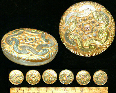 27mm Vintage Czech Glass Mirror Back Crystal Gold + Silver Spiral Buttons 4pc