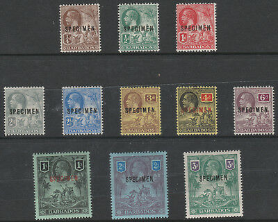 216 Barbados 1912 KGV set of 11 overprinted SPECIMEN only 400 produced