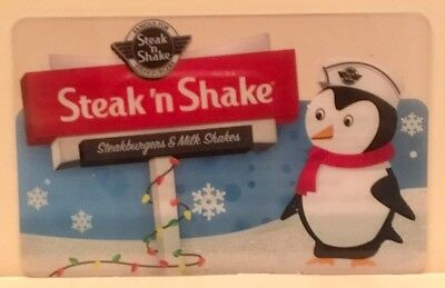 Steak N Shake Penguin Holiday Winter Sparkling Snowy Christmas Gift Card