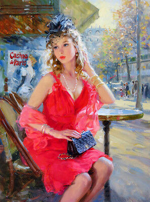 Elegant woman in front of cafe oil painting HD printed on canvas L1863