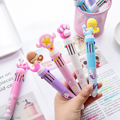 Kawaii Multi-color 10Color Ballpoint Pen Ball Pens Girl School Office Stationery