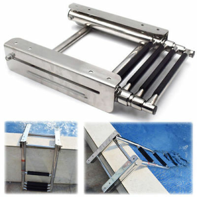 3 Steps Boarding Boat Ladder Telescoping Inboard Ladder Marine Stainless Steel