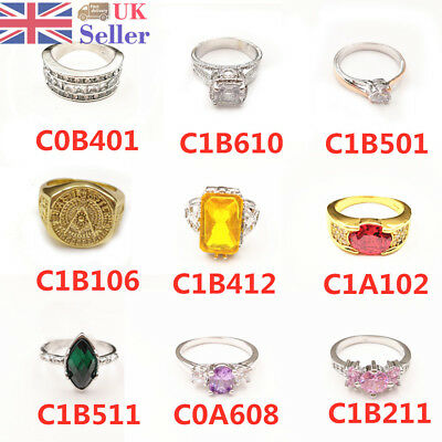 925 Silver Plated&18K Gold Plated Engraved Ring Women Zircon Wedding Party Gift