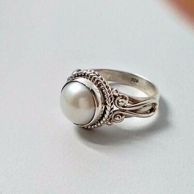 Antique White Pearl Women Wedding Engagement Ring 925 Silver Jewelry Size 6-10