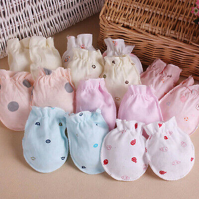 2/6Pairs Newborn Baby Infant Soft Cotton Handguard Anti Scratch Mittens Gloves