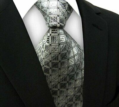 New Classic Striped WOVEN JACQUARD Silk Men's Suits Tie Necktie Black Gray N163