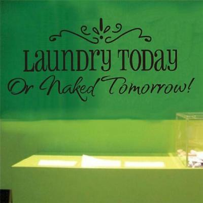 Laundry Today Or Naked Tomorrow Laundry Room Wall Art Decal Sticker Quote DP