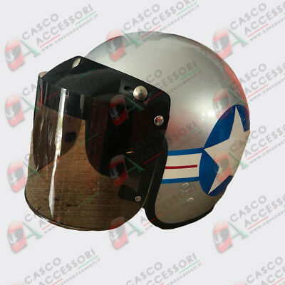 Visiera Bubble Casco Jet A Bolla 3 Bottoni Regolabile Custom Urban