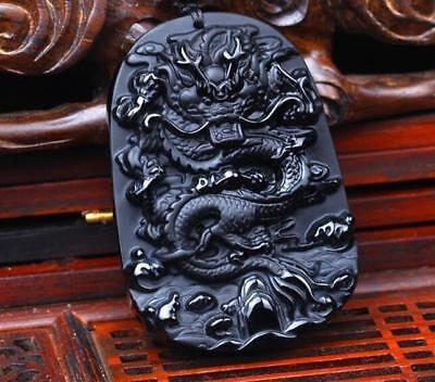 Statue pendant Necklace Amulet jade Natural Obsidian Dragon Carved