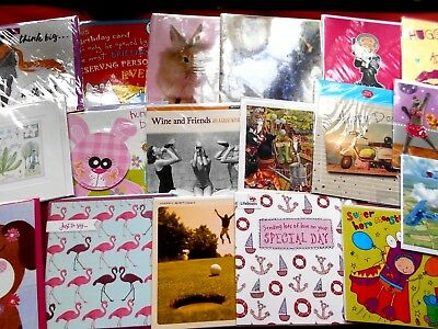 20 assorted ~ Birthday / Blank greeting cards ~  cello-wrapped ~ free postage
