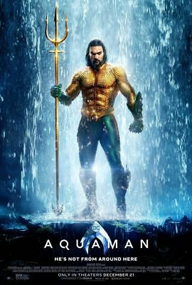 Aquaman - original DS movie poster 27x40 D/S Style B - 2018 DC Momoa Waterfall