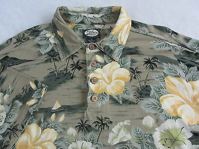 Tommy Bahama Men's Soft Cotton S/S Gray & Green Hawaiian Floral Polo Shirt - M