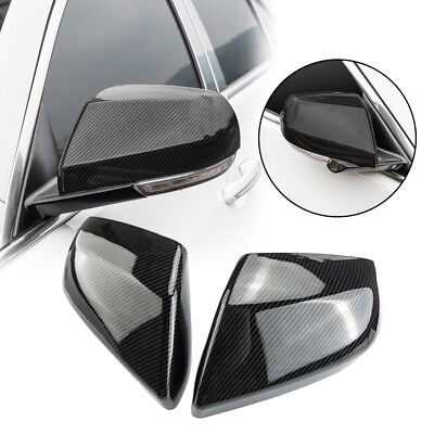 2PCS Carbon Fiber ABS Side Rearview Mirror Cover Trim For Cadillac ATS-L 2014-18