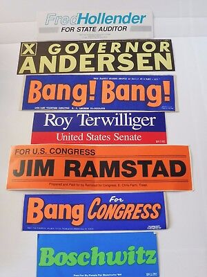 7 Vintage MINNESOTA Election Campaign Bumper Stickers NEW Boschwitz Bang Ramstad