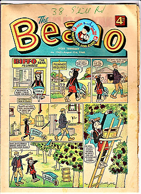 BEANO # 1363 August 31st 1968 1st Gnasher the issue comic with paper puppet