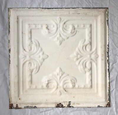 1890's 12 x 12 Antique Tin Ceiling Tile Ivory Metal Reclaimed Anniversary 10-19