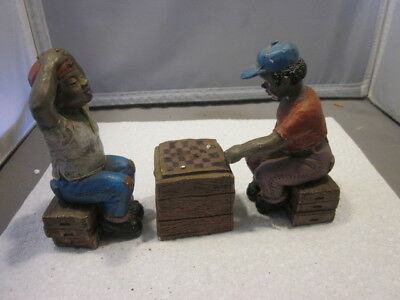 Vintage Black African American Resin Figurine TWO MEN PLAYING CHECKERS