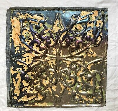 1890's 12 x 12 Antique Tin Ceiling Tile Bare Metal Reclaimed Anniversary 11-19