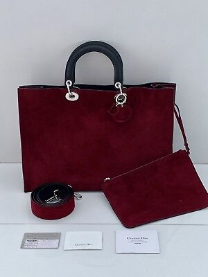f98a45737fed Dior Lady Dior Extra Large Burgundy Suede Shopper Tote Rare Limited Edition   4k+