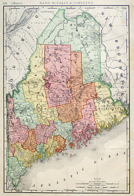 1898 Maine, Rand Mcnally Large Antique Detailed Map