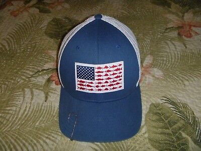 Mens Columbia Pfg Fishing Baseball Cap Hat Mesh Fitted Performance Gear Usa  Flag 582c2dae75aa