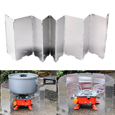 9 Plates Wind Deflectors Foldable Outdoor Camping Gas Stove Wind Shield Scree Pr