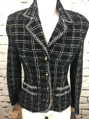 St. John Collection Marie Gray 12 Wool Button Blazer Fuzzy Jacket (E240)