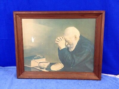 """Eric Enstrom Grace Old Man Praying Religious Daily Bread Picture Framed 22""""X16"""""""